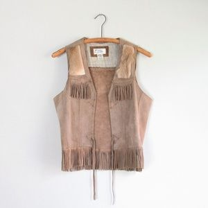 Vintage genuine leather boho suede fringe vest